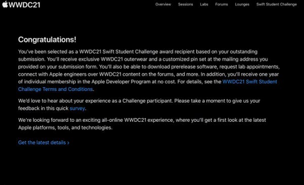 My congratulations email for winning WWDC21 Swift Student Challenge award!