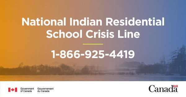 National Indian Residential School Crisis Line. 1-866-925-4419