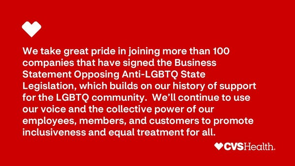 We take great pride in joining more than 100 companies that have signed the Business Statement Opposing Anti-LGBTQ State Legislation, which builds on our history of support for the LGBTQ community. We'll continue to use our voice and the collective power of our employees, members, and customers to promote inclusiveness and equal treatment for all.