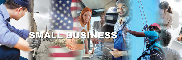 banner with the words small business
