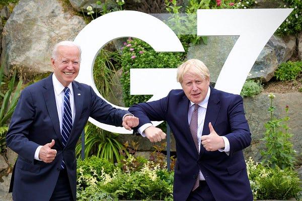 Prime Minister Boris Johnson and President Joe Biden meeting the day before the start of the G7 Summit.