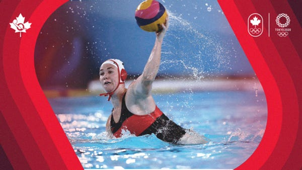 A women's water polo gets ready to throw the ball with her left arm during a game.