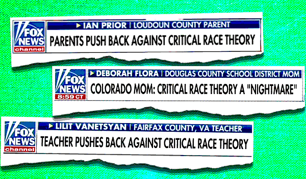 Fox chyrons identifying these people as teachers or parents -- and not as GOP operatives