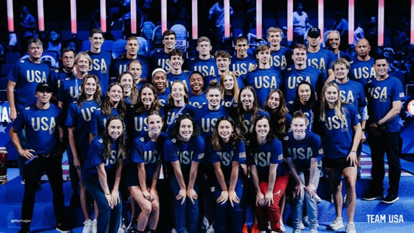 Group photo of the U.S. Olympic Swimming Team.