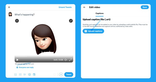 """In the Tweet composer, after you pick a video, the """"Upload caption file (.srt)"""" option is available below the video player, which brings you to a new video where you can upload the SRT caption file"""