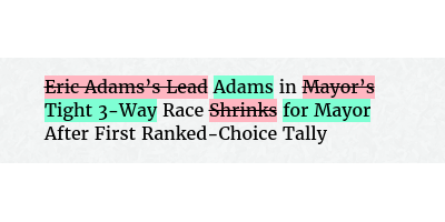 Before: Eric Adams's Lead in Mayor's Race Shrinks After First Ranked-Choice Tally After: Adams in Tight 3-Way Race for Mayor After First Ranked-Choice Tally