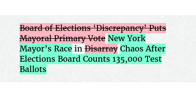 Before: Board of Elections 'Discrepancy' Puts Mayoral Primary Vote in Disarray After: New York Mayor's Race in Chaos After Elections Board Counts 135,000 Test Ballots