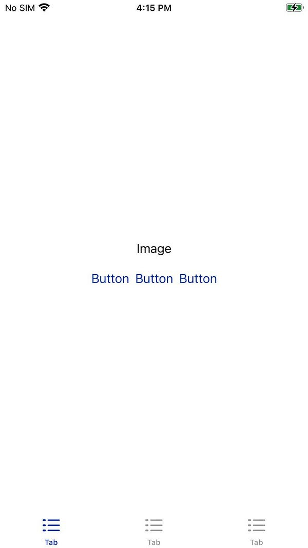 """Screenshot. Blank white screen with center text, """"Image."""" Under image text are 3 buttons which each say """"button."""" At the bottom are three tabs, each tabled, """"tab."""""""