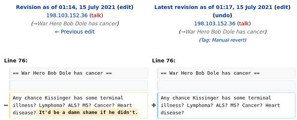 Screenshot of edit to Talk:Henry Kissinger