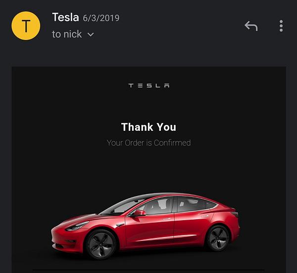 June 2019: Ordered a Model 3.