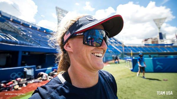 Haylie McCleney smiles during practice