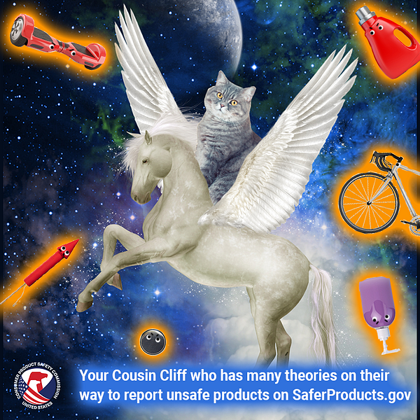 A cat named Cliff who is your cousin riding a pegasus in space surrounded by unsafe products. The text reads: Your cousin cliff who has many theories on their way to report unsafe products on SaferProducts.gov