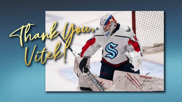 Image of Vitek Vanecek with a Kraken logo photoshopped on his jersey against a blue graphic background and gold text that reads Thank you, Vitek.