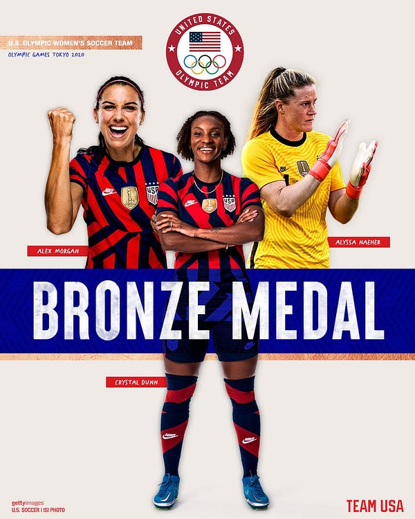 """A graphic that reads """"Bronze medal"""" with three images of USWNT players in Team USA uniform - Alex Morgan, Crystal Dunn and Alyssa Naeher."""