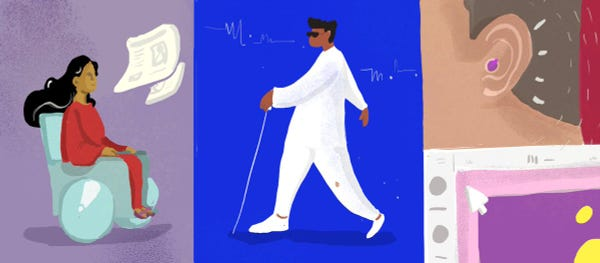 An illustration depicting a person in a wheelchair, a visually impaired person with dark glasses and a cane, and the ear of another person with a hearing aid in it.