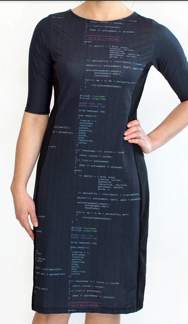 A dress that is literally covered in code