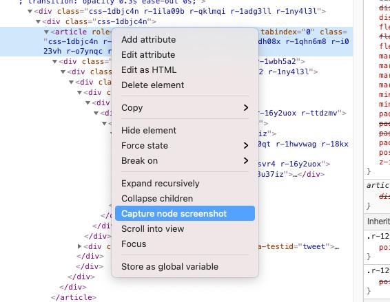 "The context menu where you can select ""Capture node screenshot"""