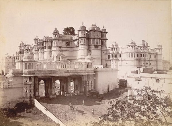 Udaipur Palace and Gateway, sepia photograph from 1890s.