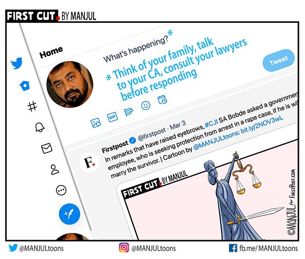 #AnuragKashyap My #cartoon for @firstpost Telegram: http://telegram.me/MANJULtoons FirstCut: http://bit.ly/FirstCutByMANJUL All My Cartoons: https://www.patreon.com/MANJULtoons Support: https://www.instamojo.com/@MANJULtoons  #MANJULtoons #editorialcartoon #editorialcartoons #cartooning #cartoonists #cartoonistsofinstagram #dailycartoon #cartoosbymanjul