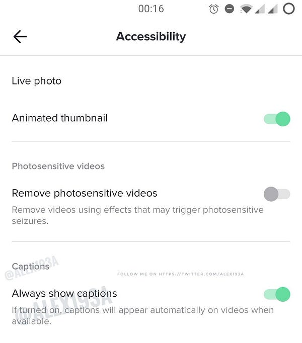 """The image shows the Accessibility section in the settings where a new """"Always shows captions"""" setting has been added. When turned on, captions will appear automatically on videos when available."""