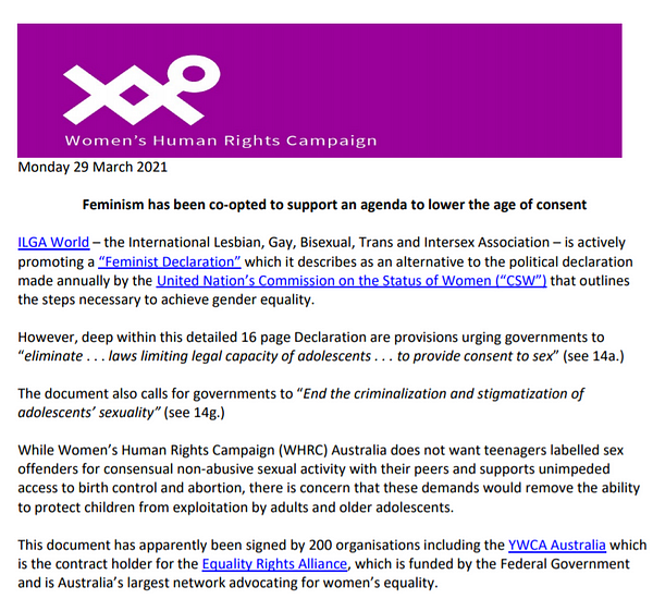 """29 March 2021: WHRC Australia has issued a media release on the ILGA """"Feminist Declaration"""" - Feminism has been co-opted to support an agenda to lower the age of consent"""