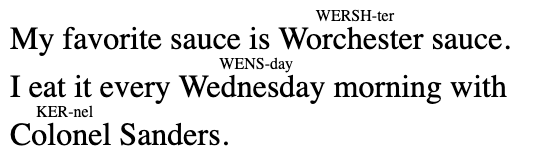 """Text showing hard to pronounce English words with spellings in ruby text (in smaller letters above):  """"My favorite sauce is Worchester (WERSH-ter) sauce. I eat it every Wednesday (WENS-day) morning with Colonel (KER-nel) Sanders."""""""